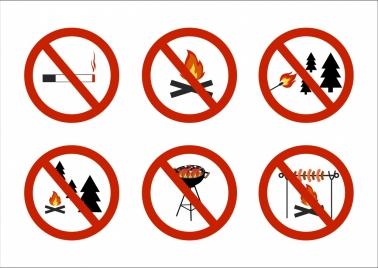fire warning signboard flat round design