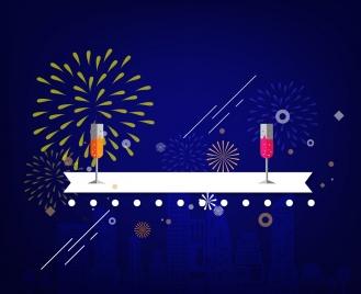 fireworks background design cocktails ribbon on dark backdrop