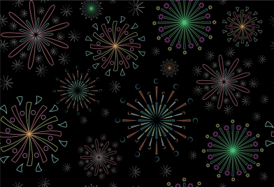 fireworks pattern outline contrast colorful design style