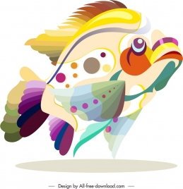 fish animal icon colorful flat sketch