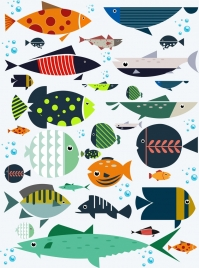 fish background colorful flat icons decor