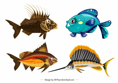 fish icons colorful modern shapes sketch