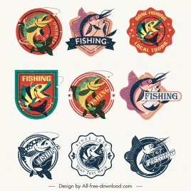 fish labels templates motion sketch retro design