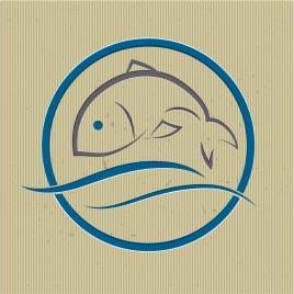 fish logotype blue classical swirled design handdrawn sketch
