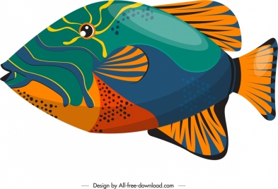 fish painting colorful closeup flat design