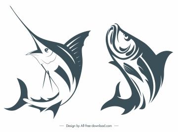 fish species icons dynamic handdrawn sketch