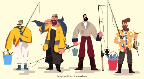 fishers icons colored cartoon characters sketch