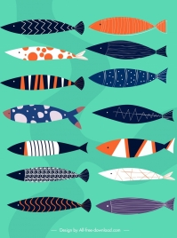 fishes background colorful classical decor horizontal flat design