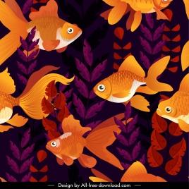 fishes pattern colorful dark classic decor