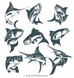 fishes species icons dynamic gestures handdrawn sketch