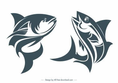 fishes species icons motion design classic handdrawn