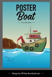 fishing banner classic boat sea scene sketch