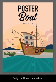 fishing boat banner colored classical design