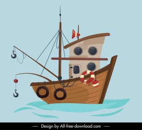 fishing boat painting colored classical sketch