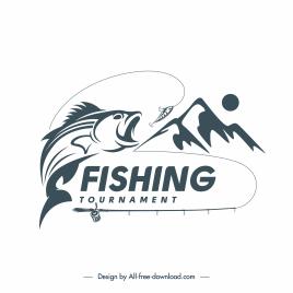 fishing logo template fish mountain sketch dynamic classic