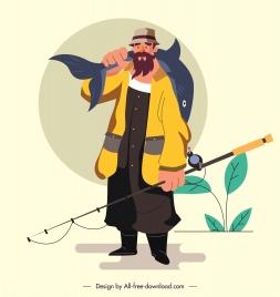 fishing man icon cartoon character sketch