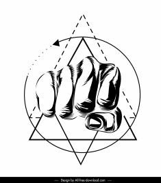 fist tattoo template black white 3d handdrawn sketch