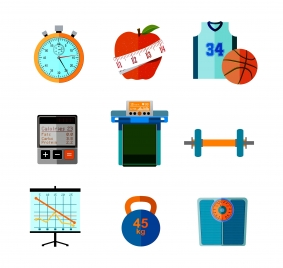 fitness icons isolated in relevant things