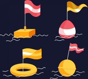flag buoy icons various 3d types isolation