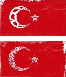 flag design red retro decor moon star icons