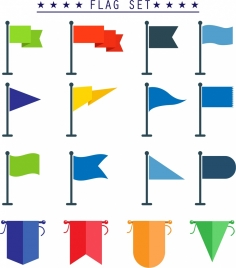 flag template sets various colored shapes isolation