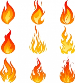 flame icons collection various orange emblems isolation