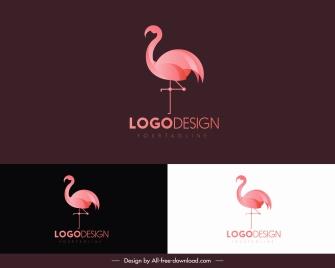 flamingo bird logo template pink flat design