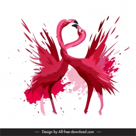 flamingo birds painting dynamic grungy design