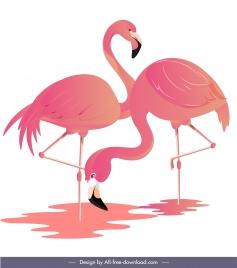 flamingo habitat painting bright colored design
