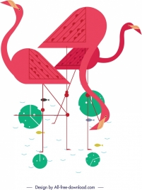 flamingo painting classical flat geometric decor