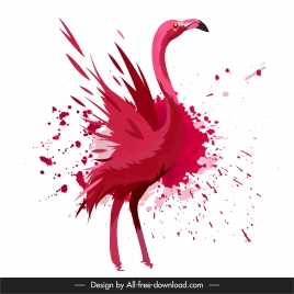 flamingo painting dynamic red grunge design