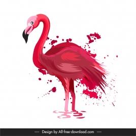 flamingo painting red grunge decor