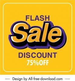 flash sale banner colored bright texts decor