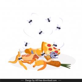 flies animals background waste food sketch dynamic design