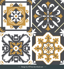 floor tile templates elegant classical symmetrical shapes