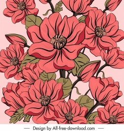 flora painting colored classic decor blooming sketch