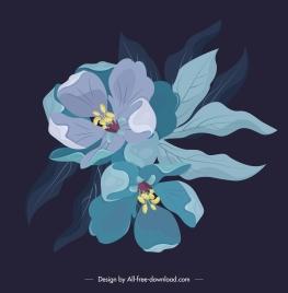 flora painting dark classical blooming design