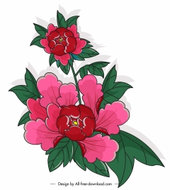 flora painting red green classical sketch