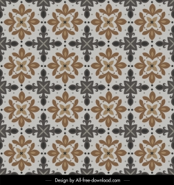 flora pattern template colored symmetrical retro design