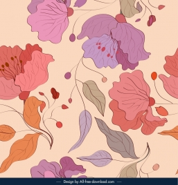 flora pattern template colorful classical sketch