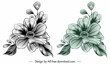 flora template elegant vintage 3d sketch