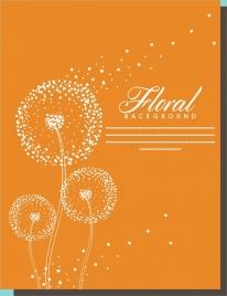 floral background dandelion sketch design orange background