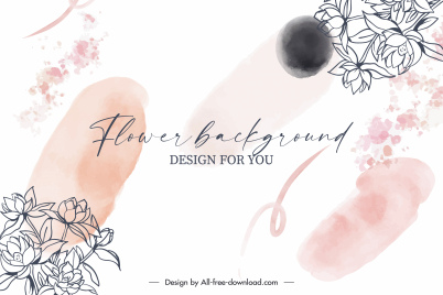 floral background template bright handdrawn classic design