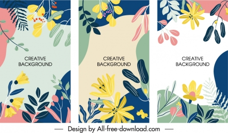 floral background templates colorful classic flat handdrawn