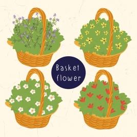 floral basket icons multicolored 3d design