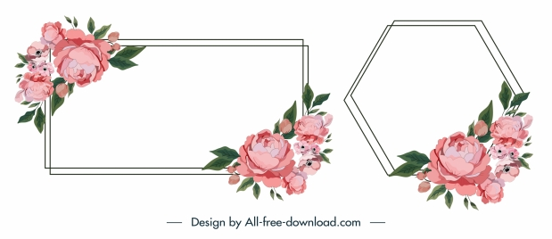 floral border templates elegant classic rectangular polygon sketch