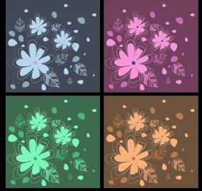 floral decor background sets flat hand drawn design