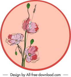 floral label template classical handdrawn sketch