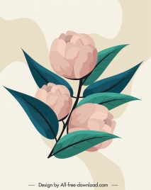 floral painting colored retro design buds leaves sketch