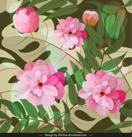 floral pattern blooming sketch colorful classic design